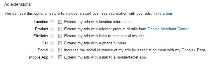 فعال کردن افزونه های تبلیغات در گوگل در هنگام ایجاد کمپین در تبلیغات گوگل