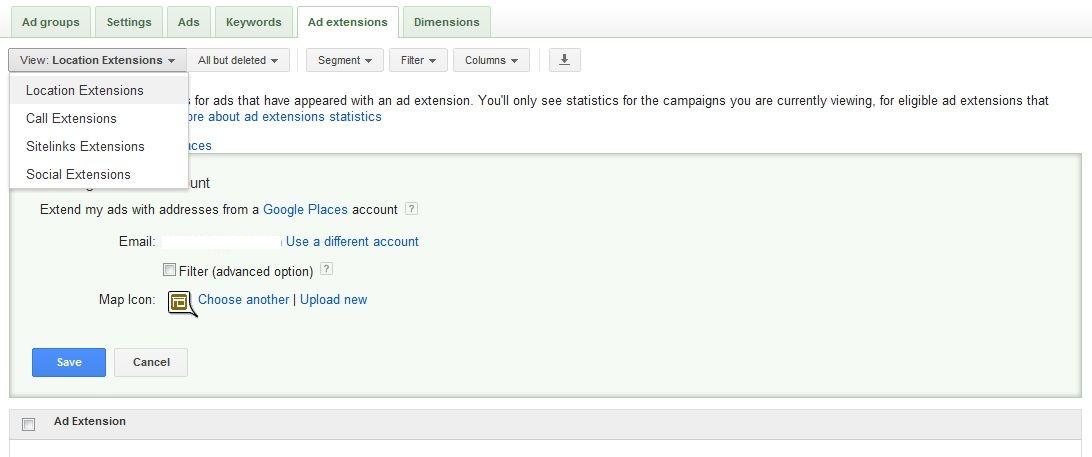 افزودن ملحقات به یک کمپین گوگل ادوردز در برگه مربوط