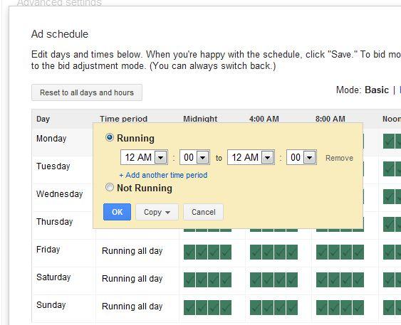 تنظیمات ساعت برای زمان بندی نمایش آگهیها در پنل تبلیغات گوگل