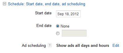تنظیمات زمان بندی کمپین در تبلیغات گوگل