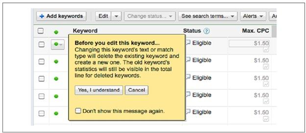 هشدار گوگل ادوردز قبل از اعمال تغییرات در کلیدواژه