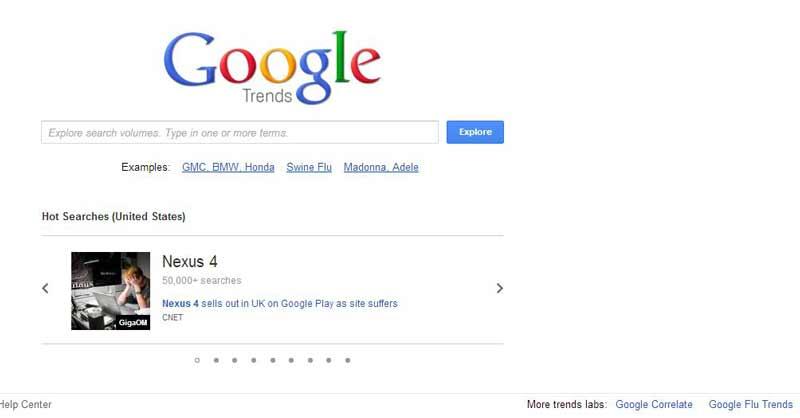 صفحه آغاز گوگل ترندز