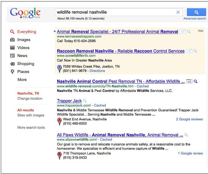 نمونه صفحه نتایج محلی گوگل