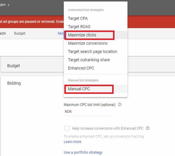 انتخاب استراتژی بیدینگ CPC دستی برای تبلیغات گوگل