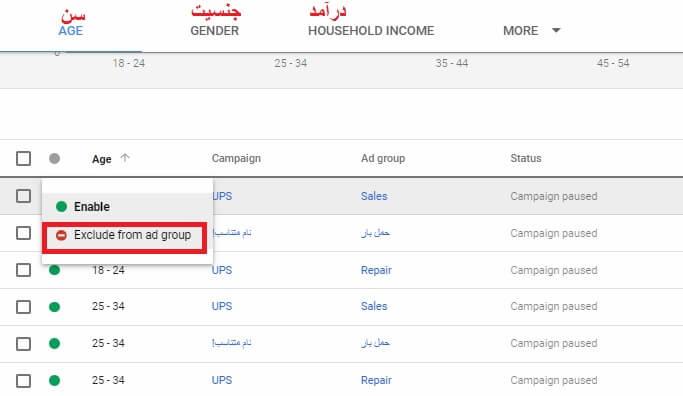 محدود کردن نمایش تبلیغات گوگل بر اساس آمار جمعیتی در سطح گروه آگهی