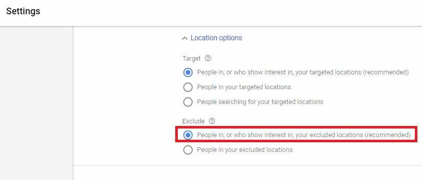 کسانی را که به مکانهای exclude شده علاقه دارند در تبلیغات ادوردزتان exclude کنید