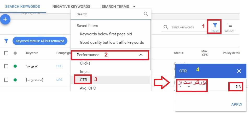 گزینه های فیلتر کردن در تبلیغات گوگل