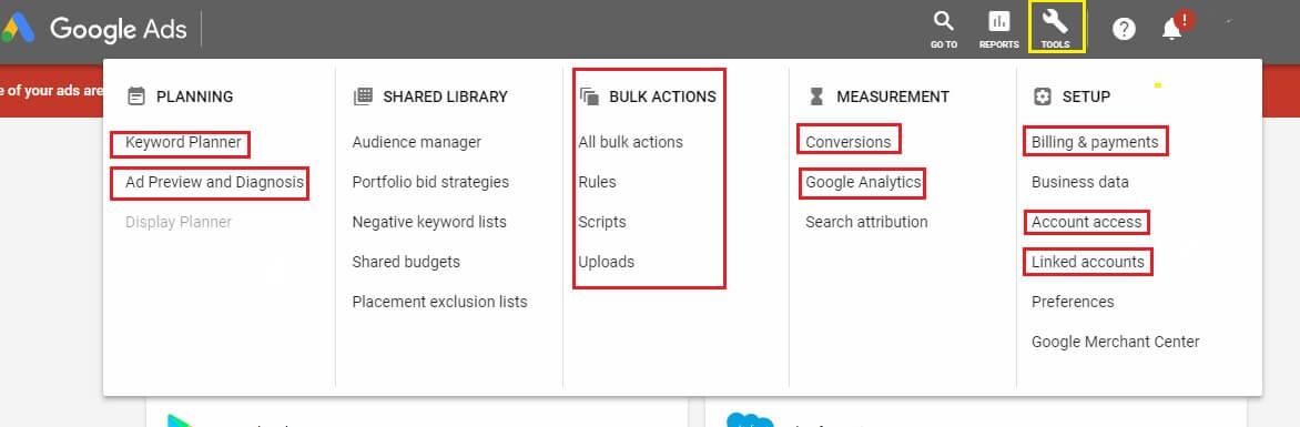 ابزارهای مدیریتی در پنل کاربری گوگل ادوردز