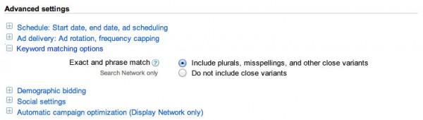 انطباق کلیدواژه، آزمایش و بهینه سازی خودکار در تنظیمات گوگل ادوردز