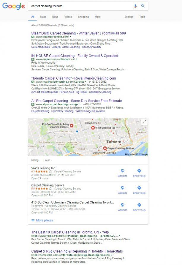 نمونه صفحه نتایج جستجو گوگل