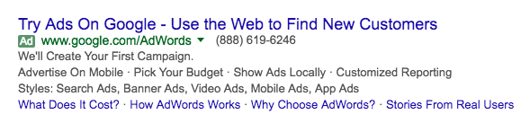 نمونهای از چند افزونه تبلیغات در گوگل ادوردز