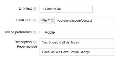 نمونه لینک به صفحه تماس با ما