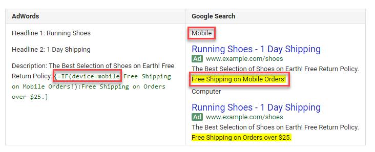 استفاده از دستور IF تغییرات گوگل ادوردز