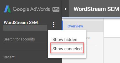 مشاهده حساب گوگل ادوردز غیرفعال