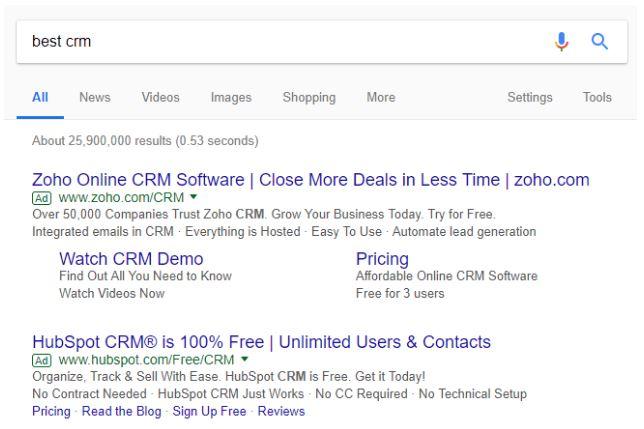 جستجوی کلیدواژهی بهترین CRM در گوگل ادوردز