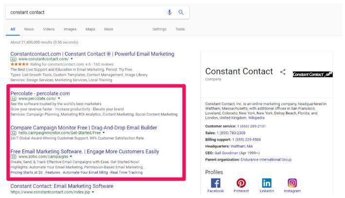 جستجوی عبارت برند شدهی Constant Contact در گوگل