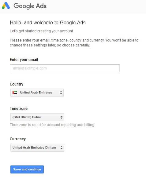 انتخاب تنظیمات اولیه حساب تبلیغات گوگل